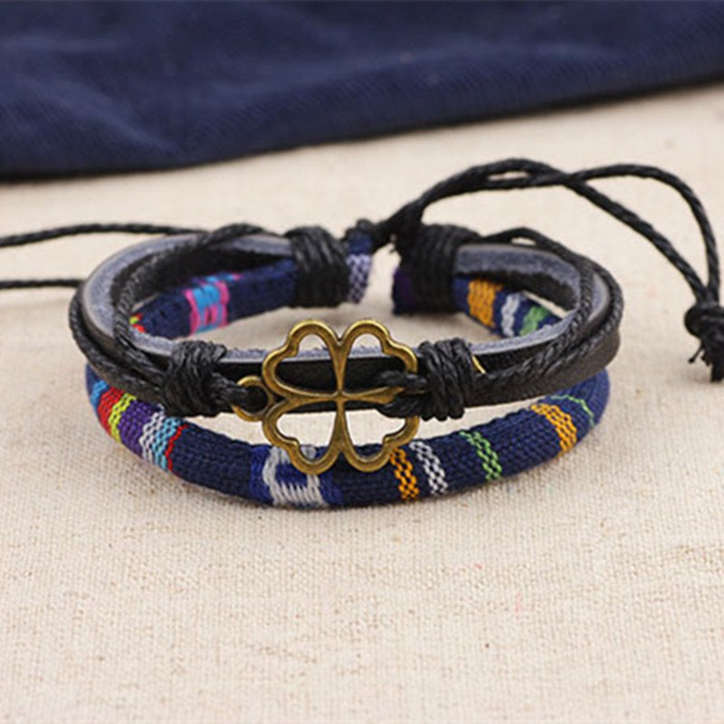 Alloy Clover Rope PU Leather Bracelet