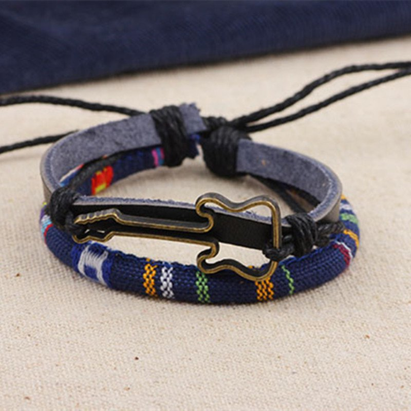 Alloy Guitar PU Leather Bracelet