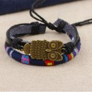 Alloy Owl PU Leather Bracelet