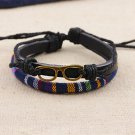Alloy Glasses Rope PU Leather Bracelet