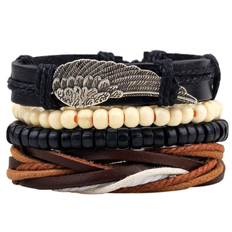 Alloy Wing Beads Rope PU Leather Bracelet