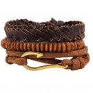 Golden Hook PU Leather Braided Beads Bracelet