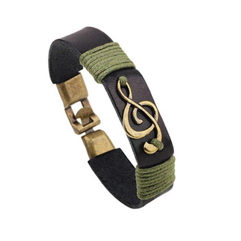 Musical Notation Shape PU Leather Bracelet