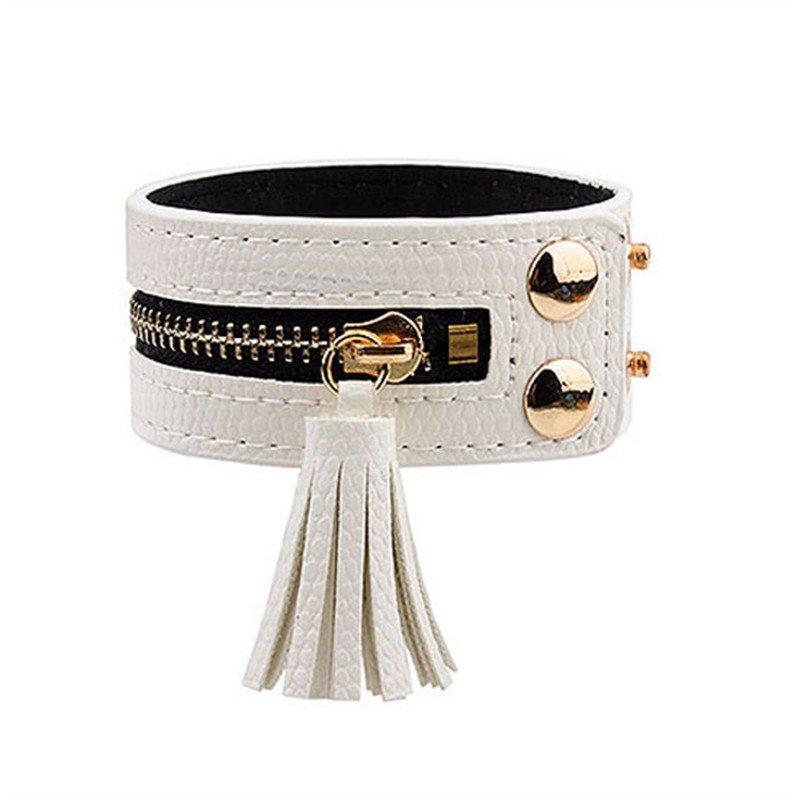 Luxury Zipper Rivets PU Leather Bracelet With Tassel