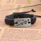 Alloy Love Heart Arrow PU Leather Bracelet