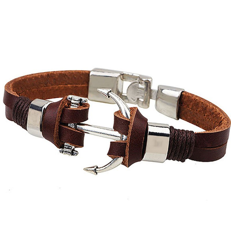 Brown Alloy Anchor Patterm PU Leather Bracelet