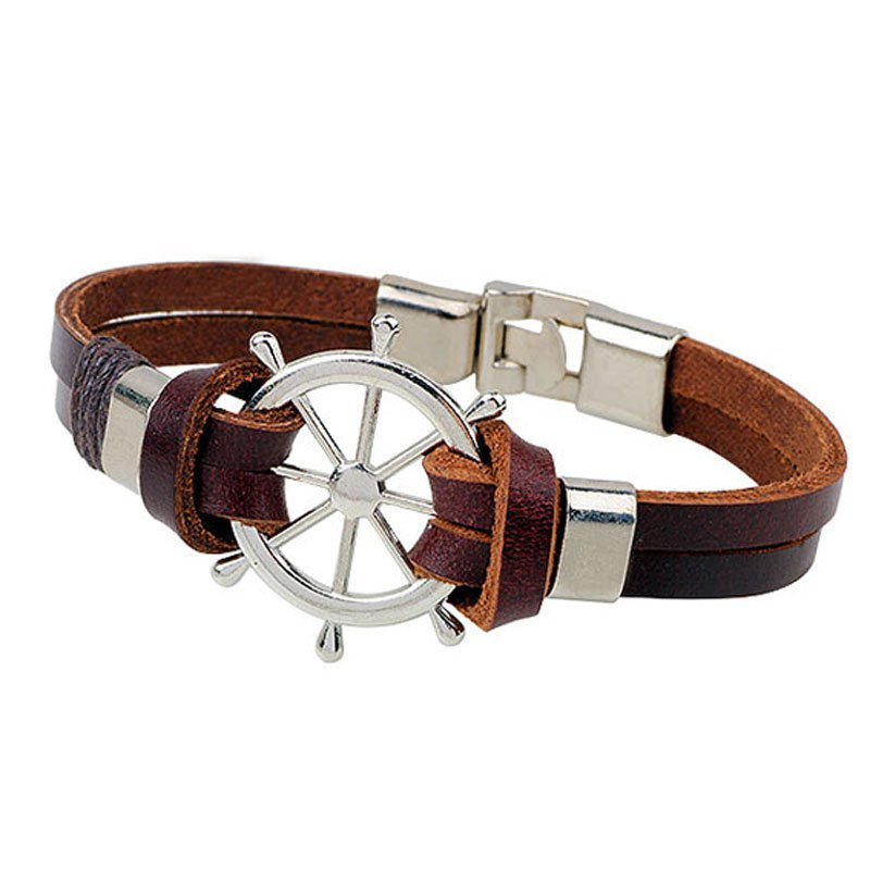 Brown Alloy Helm Patterm PU Leather Bracelet