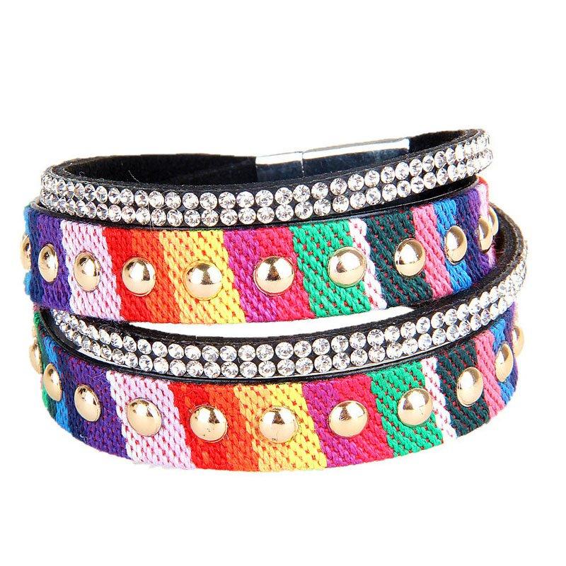 Colorful Braid Crystal & Golden Rivet PU Leather Bracelet