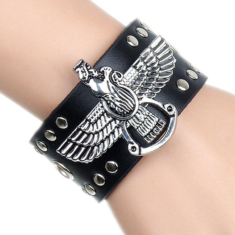 Alloy Eagle & Round Rivets PU Leather Bracelet