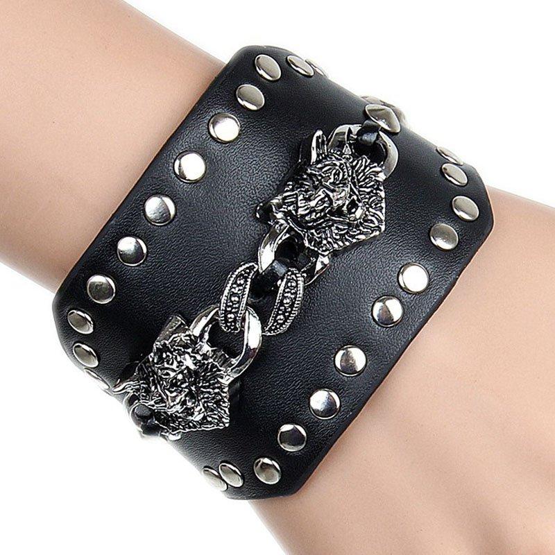 Dual Alloy Wolves & Round Rivets PU Leather Bracelet