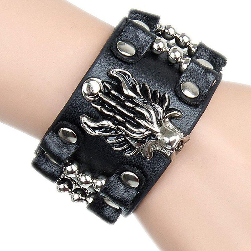 Dragon Pattern With Alloy Rivets PU Leather Bracelet