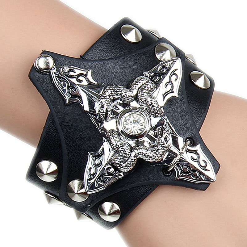 Delicate Metal Cross With Dual Snakes Pattern PU Leather Bracelet