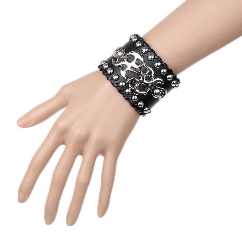 Black Metal Flame & Round Rivets PU Leather Bracelet