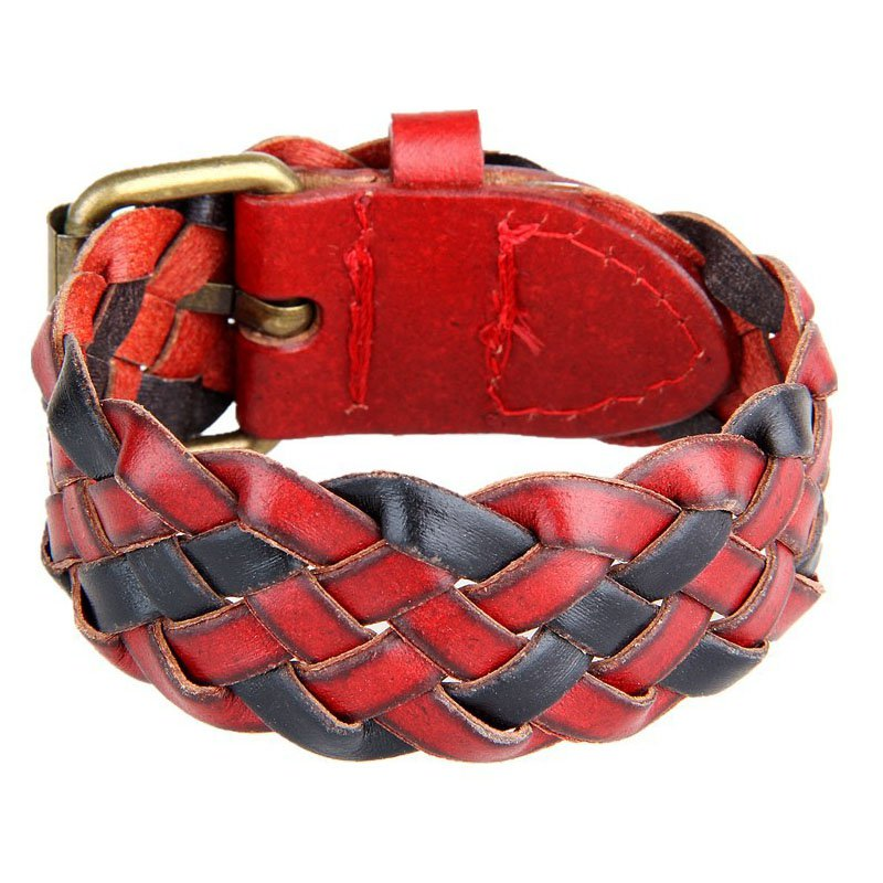 Contrast Braid Adjustable PU Leather Bracelet