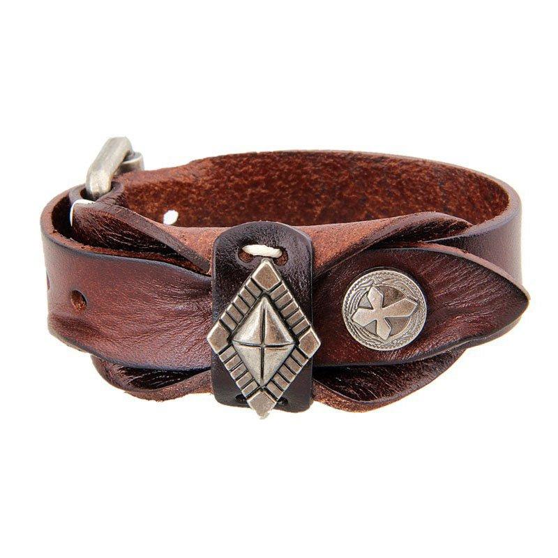 Vintage Alloy Diamond Adjustable PU Leather Bracelet