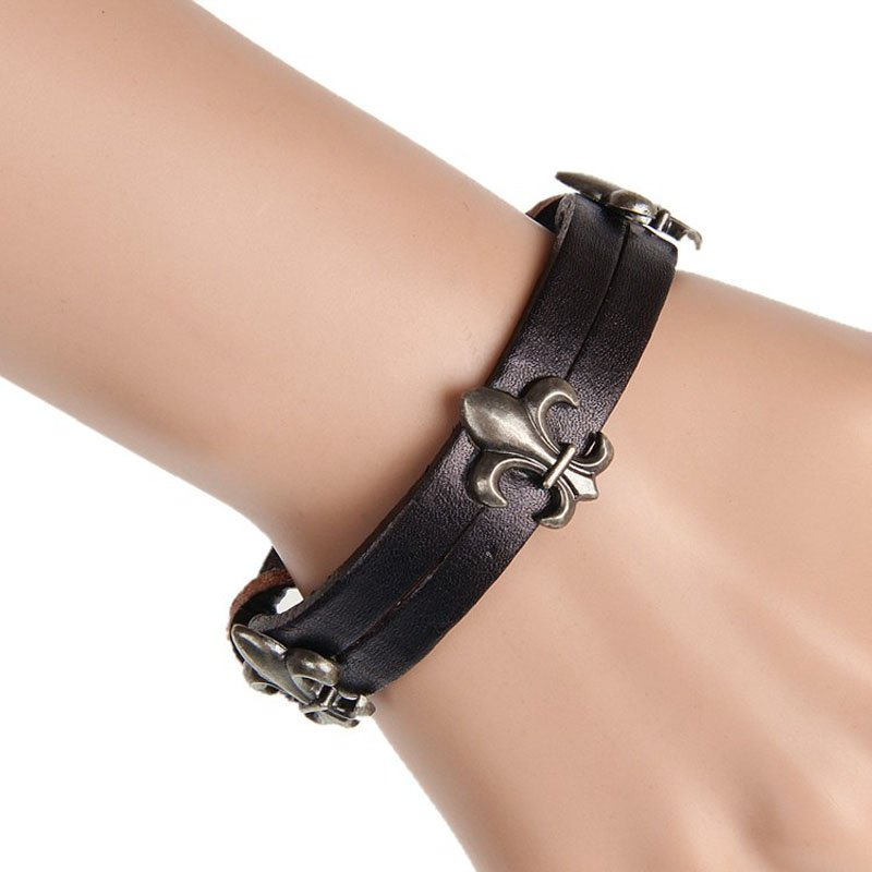 Brief Cross Metal Snap Button Leather Bracelet