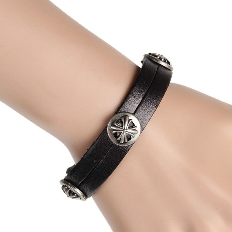 Cross Metal Snap Button Punk Leather Bracelet