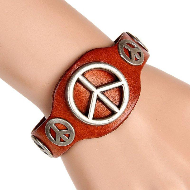 Snap Button Alloy Rivets PU Leather Bracelet