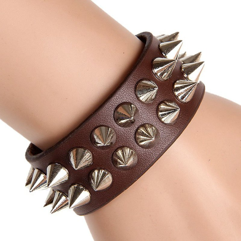 Sharp Metal Rivets Snap Button PU Leather Bracelet 4 Colors