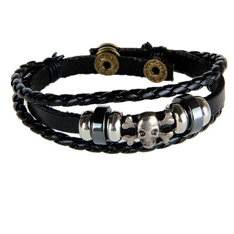Devil Skull Pattern PU Leather Bracelet With Braided Rope