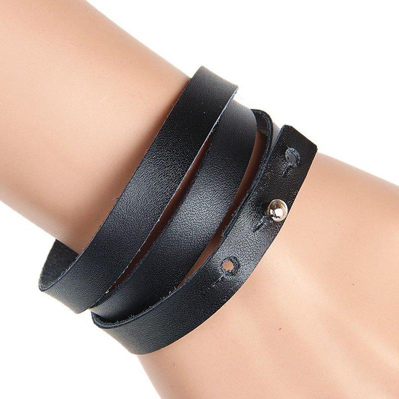 Multilayer Solid PU Leather Bracelet