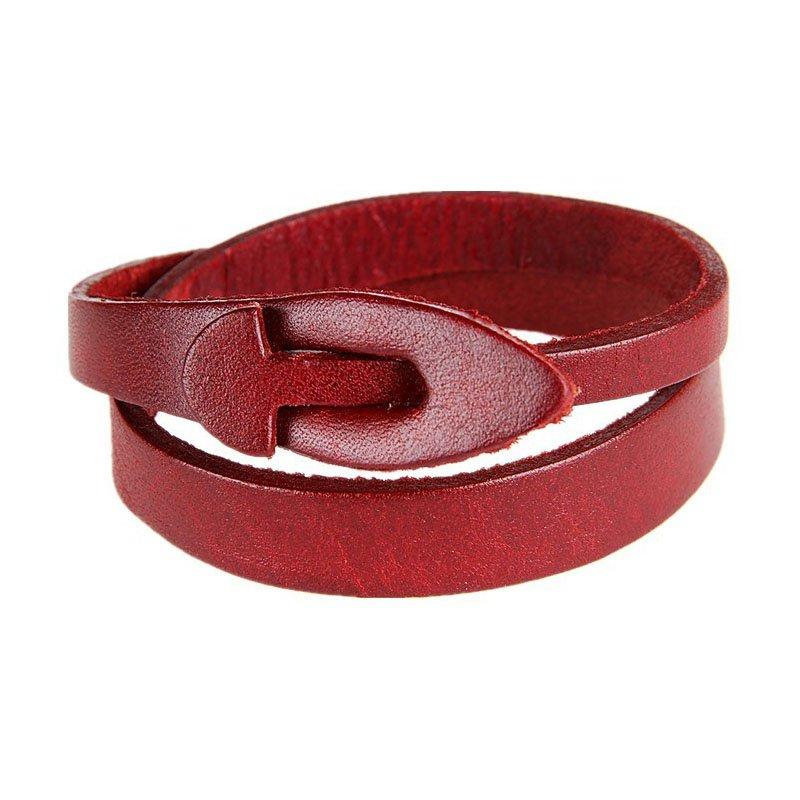 Solid Buckle PU Leather Bracelte Dual Belts