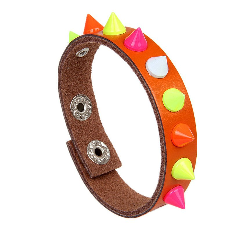 Colorful Share Metal Rivets PU Leather Bracelet 9 Colors