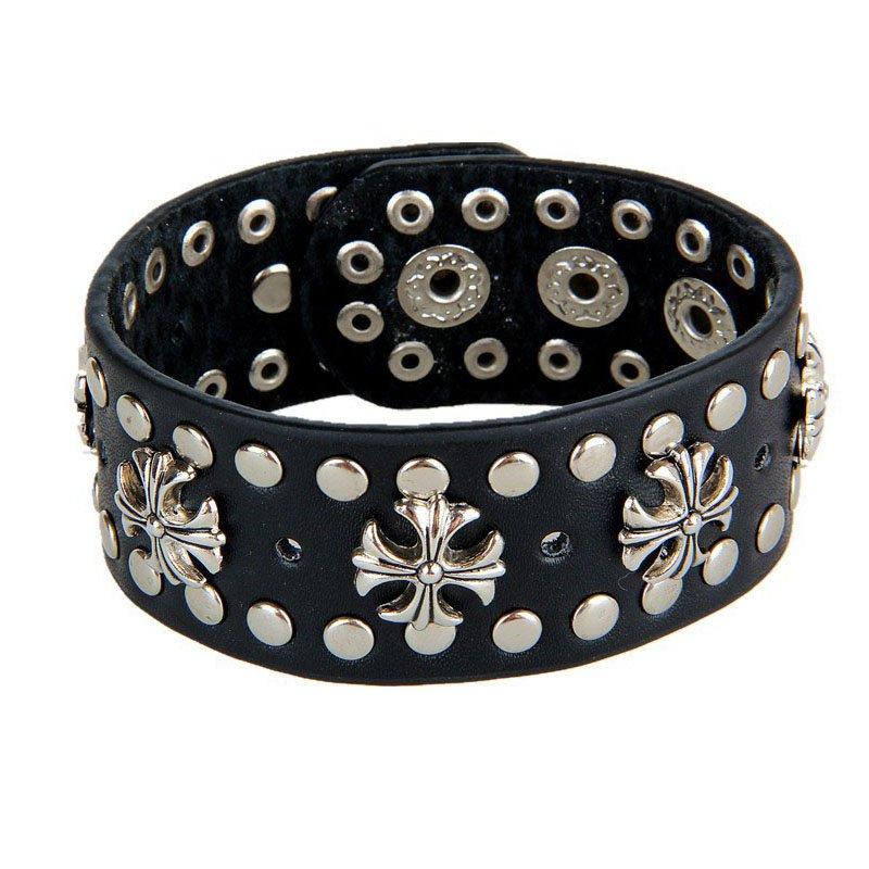 Black Metal Cross Rivets PU Leather Bracelet Puny Rock