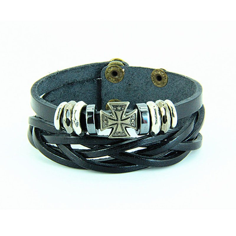 Multilayer Cross Braid PU Leather Bracelet With Braided Rope