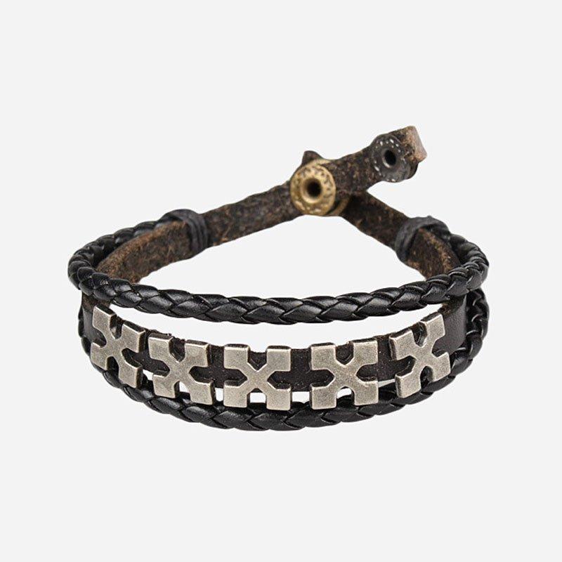 Fashion Cross Pattern Snap Button PU Leather Bracelet