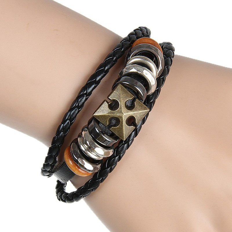 Alloy PU Leather Bracelet