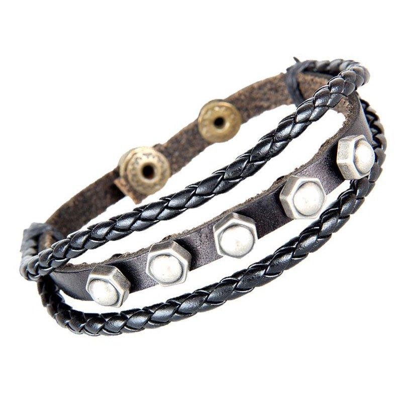 Screw Cap Pattern Snap Button PU Leather Bracelet