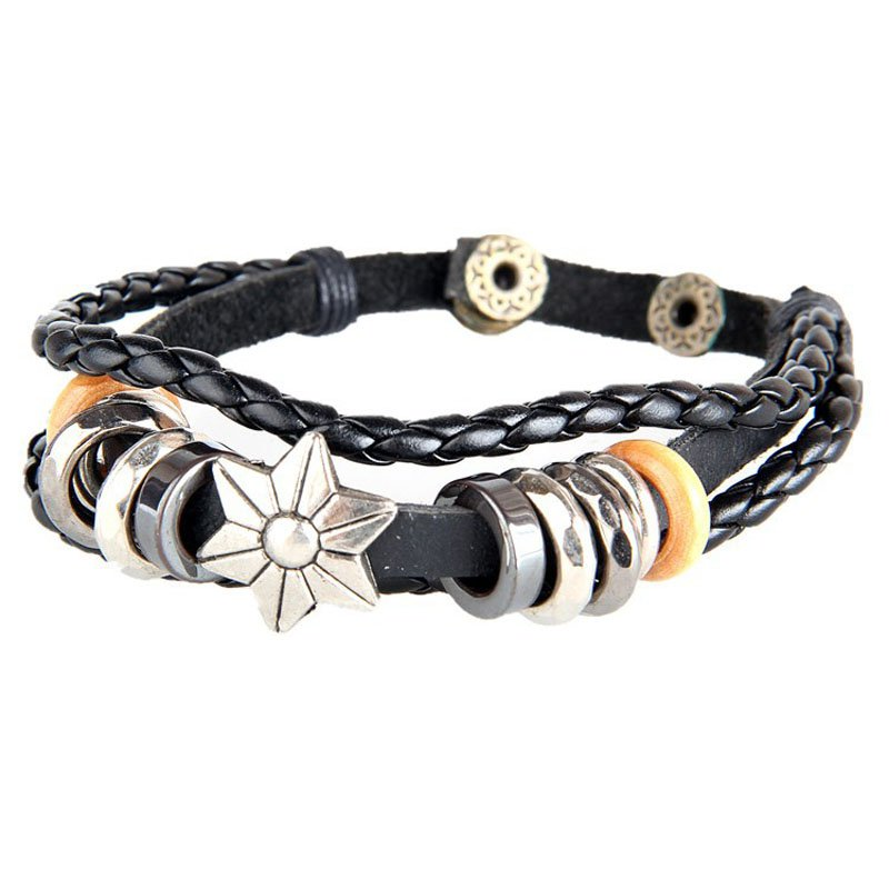 Star Pattern Snap Button PU Leather Bracelet With Braided Rope