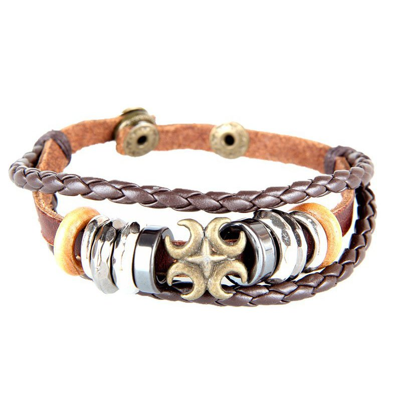 Crescent Moon Pattern Snap Button PU Leather Bracelet With Braided Rope