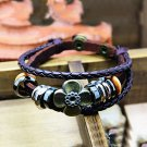 Clover Pattern Snap Button PU Leather Bracelet With Braided Rope
