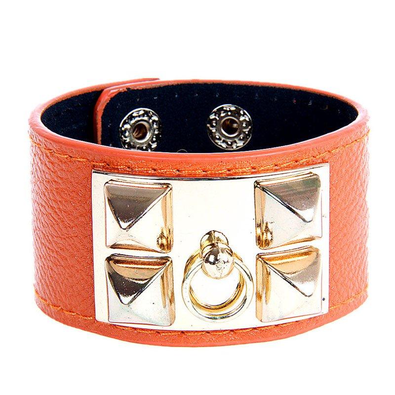 Alloy Rivet Rock PU Leather Bracelet