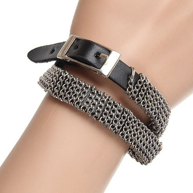 Rocker Chains Dual Belts Leather Patch Bracelet