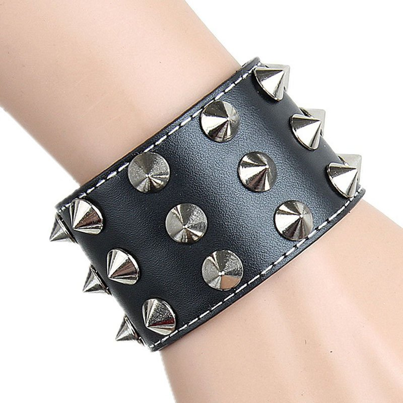 Black Sharp Metal Rivets Classic PU Leather Bracelet
