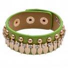 Alluring Diamond Gold Rivet Snap Button Leather Bracelets