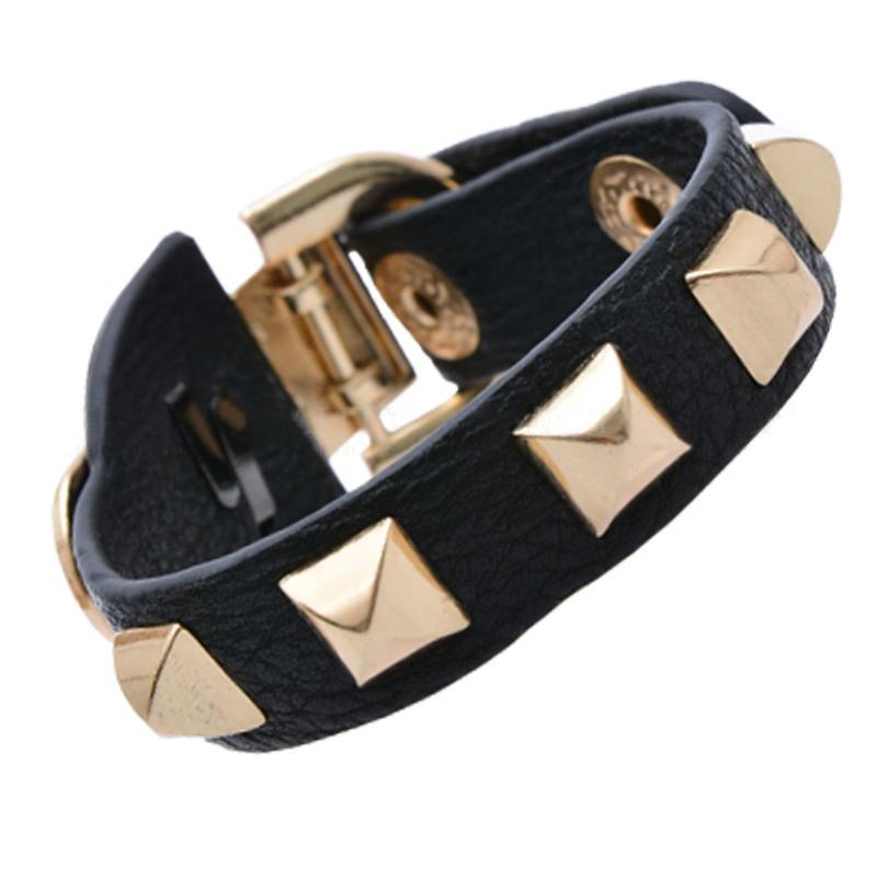 Buckle Adjustable Gold Metal Rivet Leather Bracelets