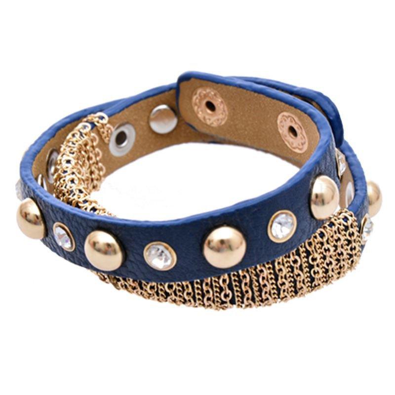 Gold Plated Chain Design Diamond Adjustable Wrap Leather Bracelet