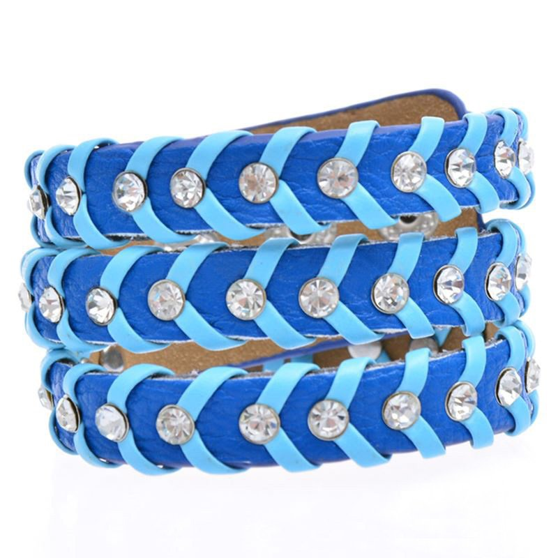 Attractive Crystal Jewelry Alloy Snap Button Leather Bracelets
