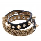 Spike Leather Bracelet Choker Stainless Steel