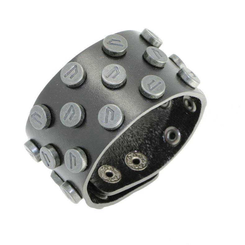 Classic Black Metal Rivet Snap Button Leather Bracelets