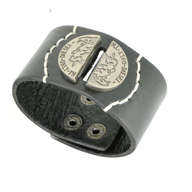 Unique Metal Semi-circular Snap Button Leather Bracelets
