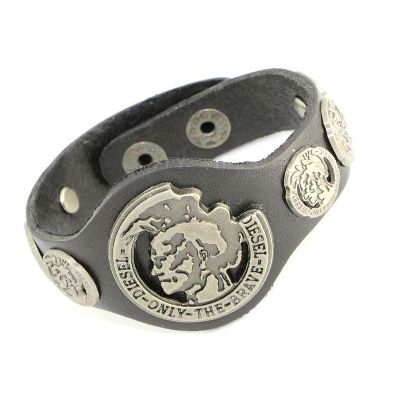 Black Classic Metal Snap Button Leather Bracelets