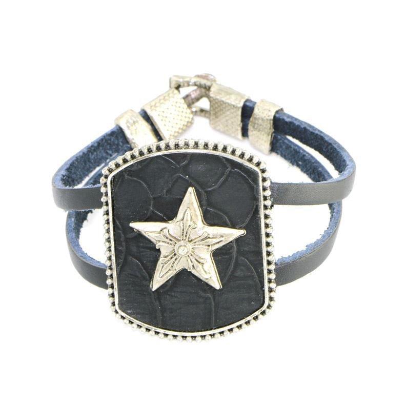 Classic Metal Lucky Star Black Alloy Leather Bracelets