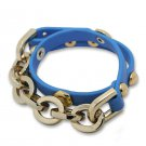 Heavy Metal Chain Snap Button Alloy Leather Bracelets