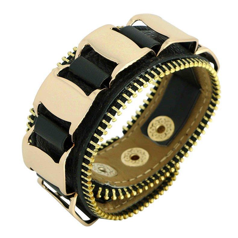 Punk Style Gold Chain Snap Button Leather Bracelets