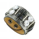 Luxury Bright Diamond Crystal Snap Button Leather Bracelets